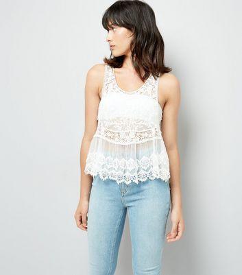 White Lace Crochet Swing Vest