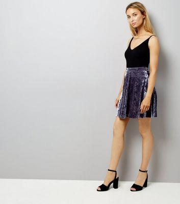 Grey Crushed Velvet Skater Skirt