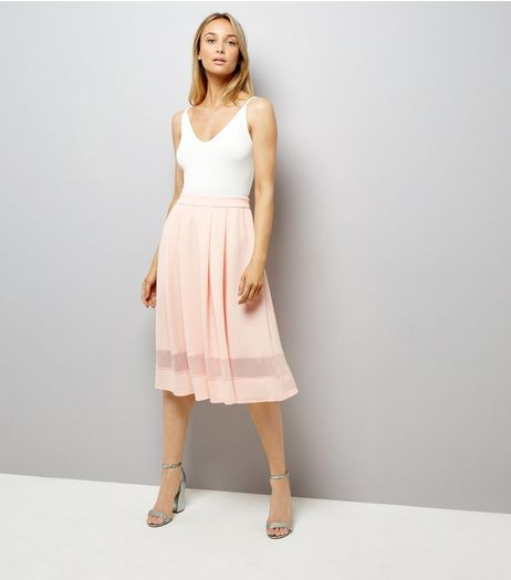 Pink Mesh Trim Midi Skater Skirt | New Look