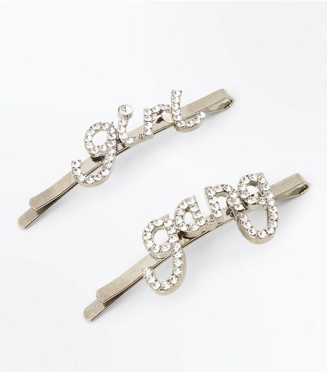 Silver Girl Gang Diamanté Embellished Hair Slides | New Look