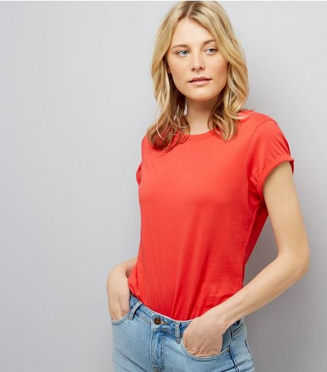 Tall Red Rolled Sleeve T-Shirt | New Look