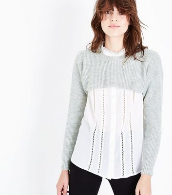 Grey Ribbed Super Cropped Jumper