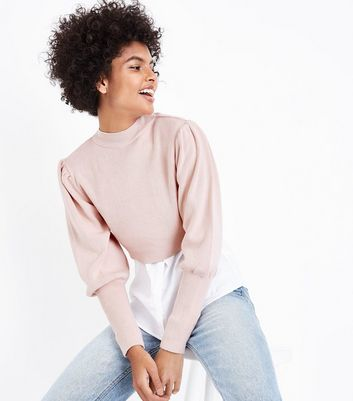Shell Pink Puff Sleeve Cropped Jumper