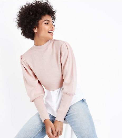 Shell Pink Puff Sleeve Cropped Jumper | New Look
