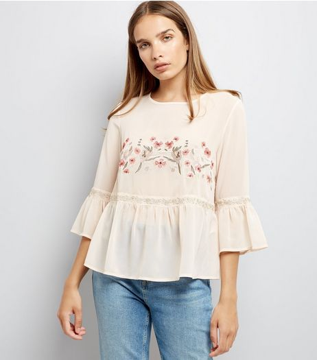 Shell Pink Floral Embroidered Smock Top | New Look