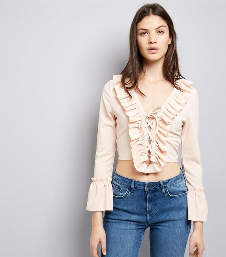 Cameo Rose Shell Pink Lace Up Frill Trim Crop Top | New Look