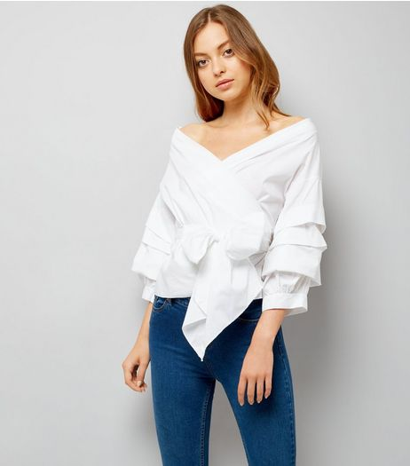 Cameo Rose White Tie Front Tiered Sleeve Top | New Look