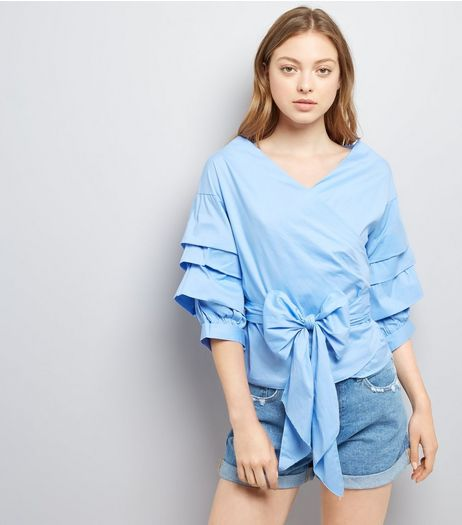 Cameo Rose Blue Tie Front Tiered Sleeve Top | New Look