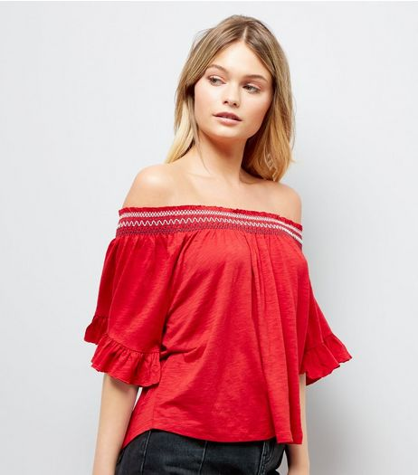 Red Bardot Neck Smock Top | New Look