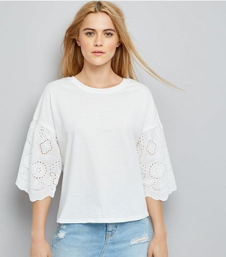 White Broderie Sleeve T-Shirt | New Look