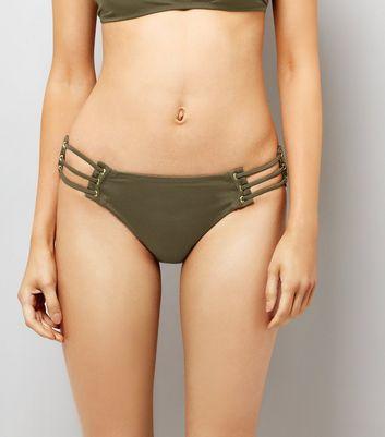 Khaki Eyelet Strappy Bikini Bottoms