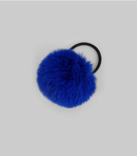 Blue Faux Fur Pom Pom Hair Band | New Look