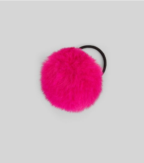 Pink Faux Fur Pom Pom Hair Band | New Look