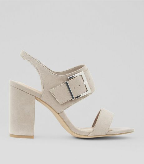 Wide Fit Grey Comfort Suedette Buckle Heeled Sandals | New Look