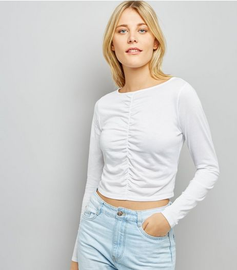 White Ruched Front Long Sleeved Top | New Look