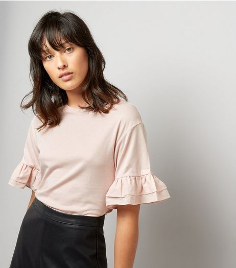 Pink Double Frill Sleeve T-Shirt | New Look