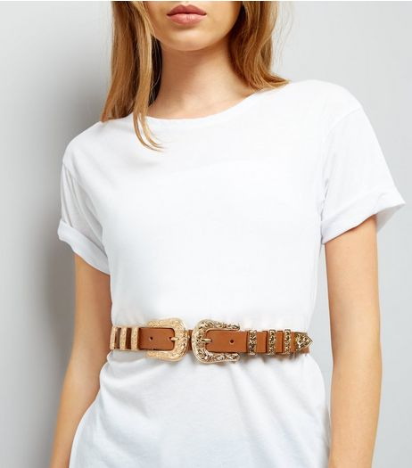 Tan Western Double Buckle Belt | New Look