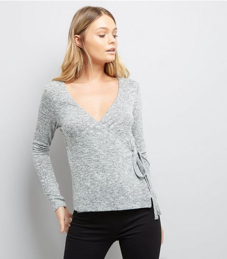 Grey V Neck Tie Side Wrap Top | New Look