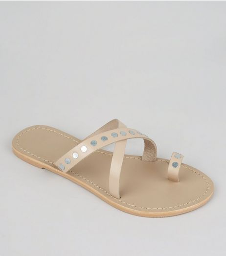 Wide Fit Nude Pink Studded Cross Strap Leather Sandals | New Look
