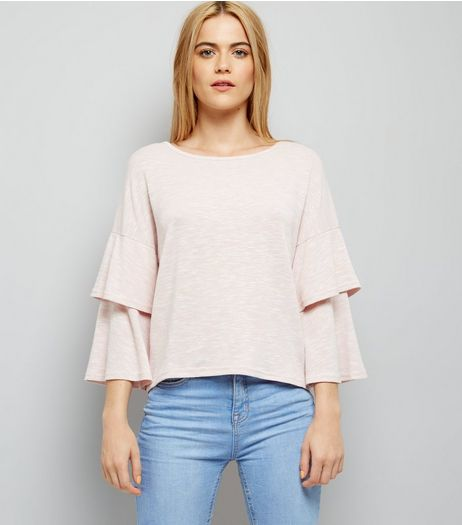 Shell Pink Tiered Sleeve Top | New Look