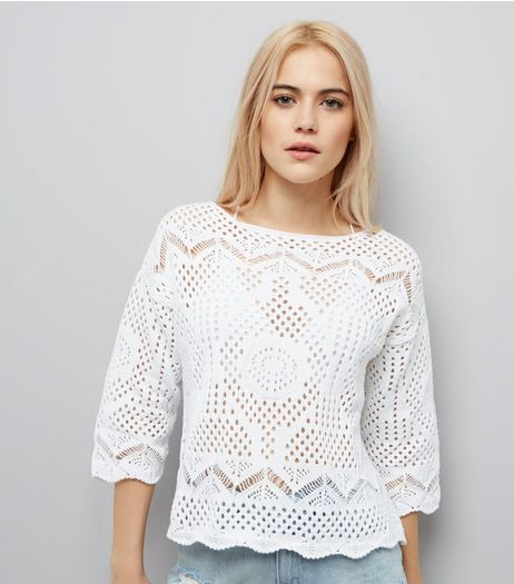 White Crochet Scallop Hem Top | New Look