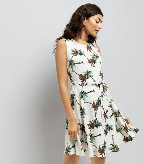 Mela White Palm Tree Print Skater Dress | New Look