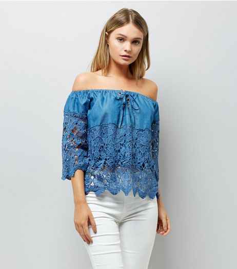 Cameo Rose Blue Crochet Panel Bardot Neck Top | New Look