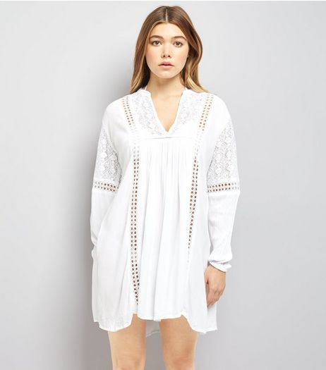 Blue Vanilla White Chrochet Lace Trim Tunic Dress | New Look