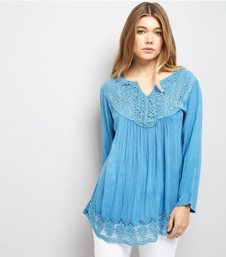 Blue Vanilla Blue Crochet Lace Trim Flared Sleeve Top | New Look