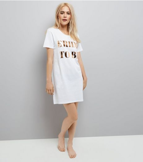 White Oversized Bride To Be Night Dress | New Look