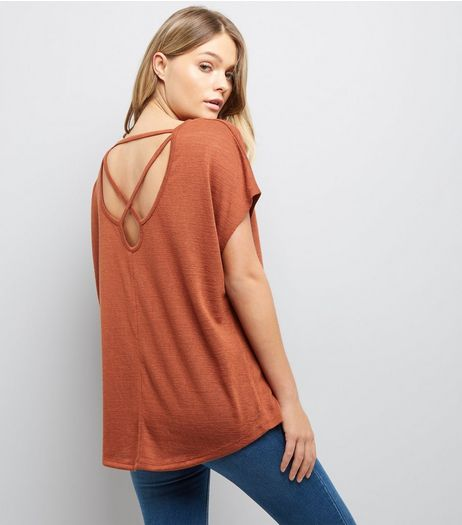 Brown Fine Knit Cross Back Top | New Look
