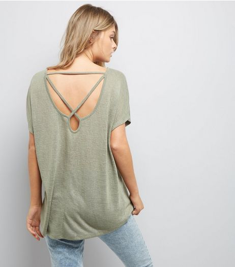 Khaki Fine Knit Cross Back Top | New Look