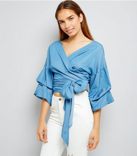 Blue Denim Ruched Sleeve Wrap Front Top | New Look