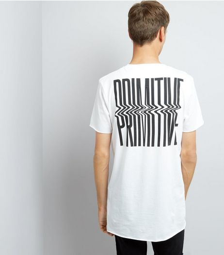 White Primitive Print T-Shirt | New Look