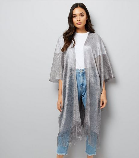 Blue Vanilla Silver Fringe Hem Wrap | New Look
