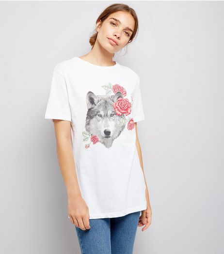 White Floral Wolf Print Boyfriend T-Shirt  | New Look
