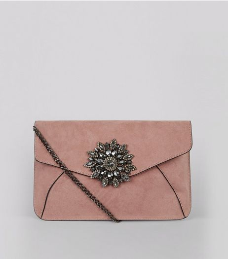Pink Brooch Embellished Clutch  | New Look