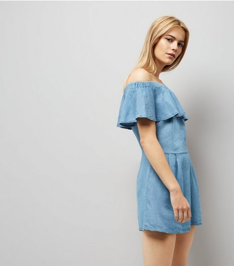 Cameo Rose Blue Bardot Neck Playsuit | New Look
