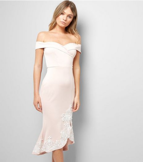 AX Paris Pink Lace Detail Bardot Neck Dress | New Look