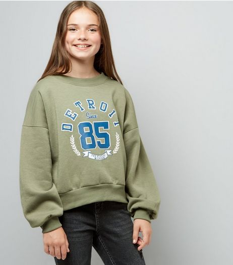 Teens Khaki Balloon Detroit Slogan Sweater  | New Look