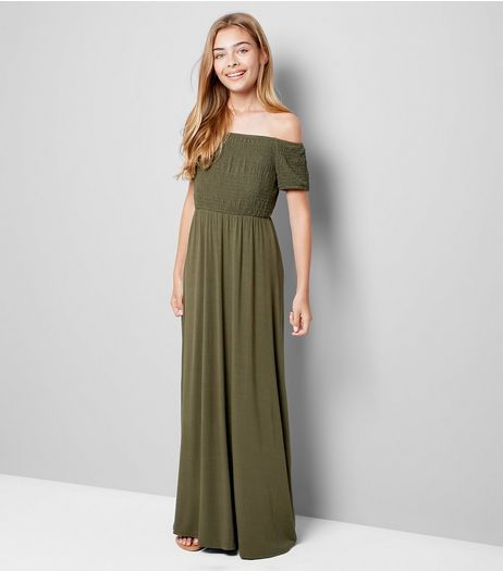 Teens Khaki Shirred Bardot Neck Maxi Dress  | New Look
