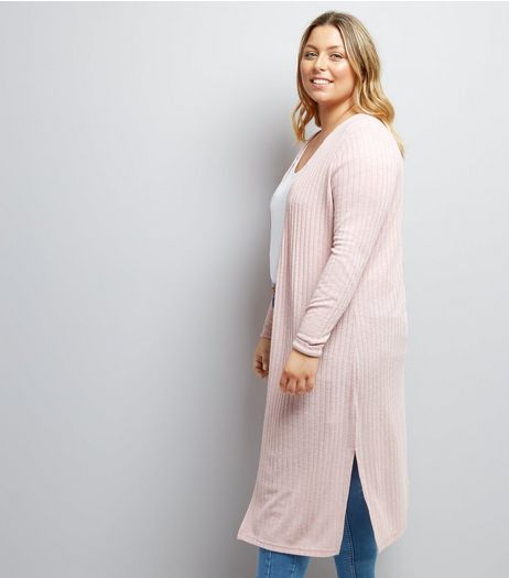 Curves Pink Ribbed Midi Cardigan | New Look