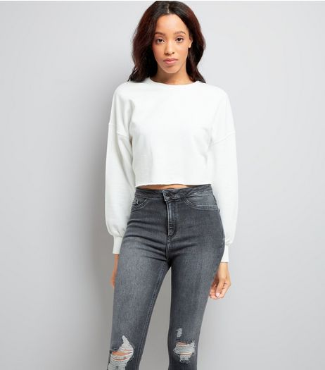 White Balloon Sleeve Cropped Sweater | New Look