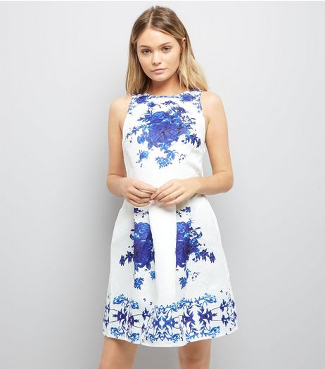 AX Paris White Embossed Floral Print Dress | New Look