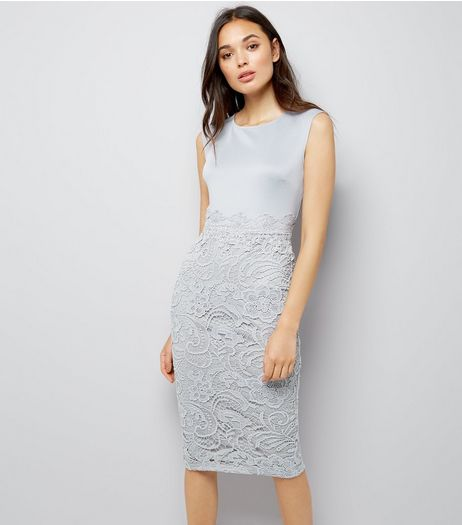 AX Paris Grey Lace Skirt Midi Dress | New Look