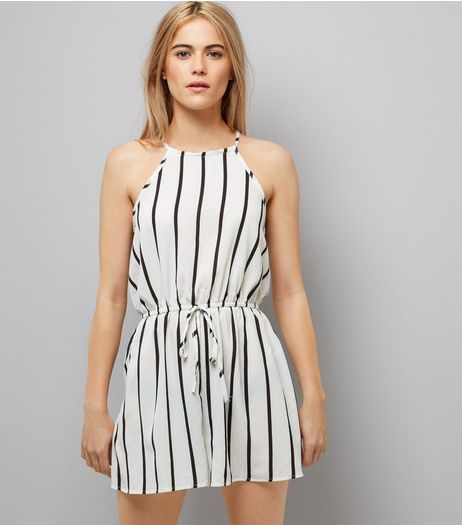 AX Paris White Stripe Playsuit | New Look