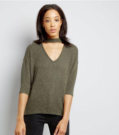 Tall Khaki Fine Knit Choker Top | New Look