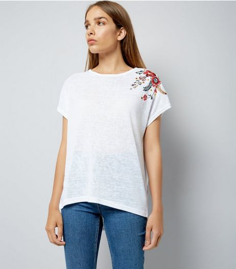 White Floral Embroidered Shoulder T-Shirt | New Look