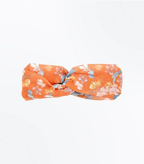 Orange Tropical Floral Print Hairband  | New Look