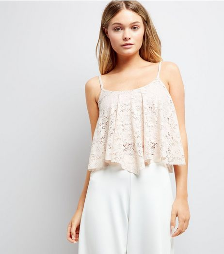 Shell Pink Lace Hanky Hem Crop Top | New Look